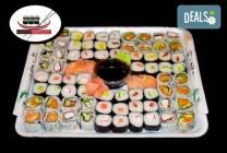 74 суши хапки с пушена сьомга, филаделфия, хайвер и херинга от Sushi