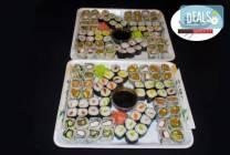 128 суши хапки с пушена сьомга, филаделфия, херинга или скариди от
