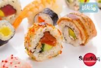 Голям суши сет 108 хапки със сьомга, риба тон и японски сосове от