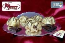 50 мини еклера с баварски крем и шоколад от Muffin House