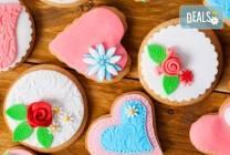 15 броя романтични сърца с рози (бисквити) от Muffin House