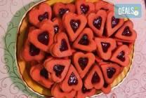 1 кг. големи червени сърца с ягодово сладко от Сладкарница Джорджо