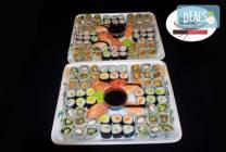 120 суши хапки със сьомга, скариди и филаделфия от Sushi Market