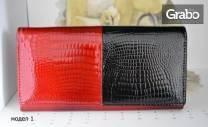 Дамско портмоне от естествена кожа в червен или черен цвят - модел по