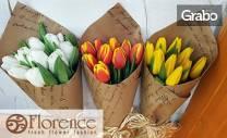 За 8 Март! Връзка от лалета или рози, 3 засадени иглики в панер или