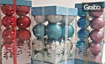 Кутия с украса за елха - с 20 малки топки или с 21 големи топки и 6
